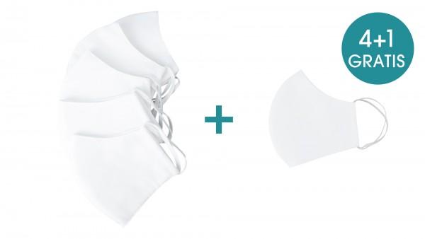 4+1 Set Mund- und Nasenmasken in verschiedenen Farben (3 lagig inkl. Filter)